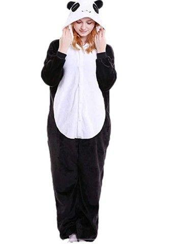 Lindo Pijama Fantasia Panda Macacão com Capuz