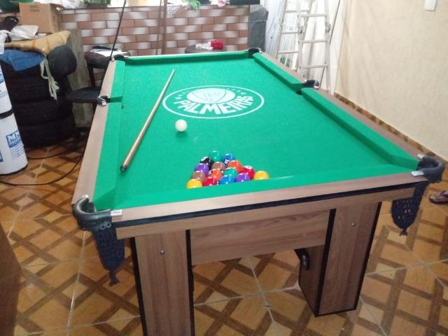 Mesa de Bilhar Cor Imbuia Tecido Verde Logo Palmeiras Mod. OESW2438 - Foto 2
