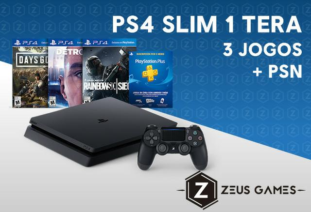 PS4 Slim 1 Tera Novo + 3 Jogos e PSN - Garantia - 12x no cartão - Zeus Games