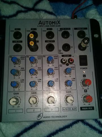 Mesa de som automix 4canais 12v