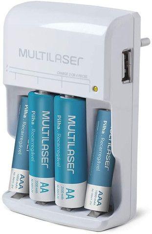 Carregador de pilhas + 4 pilhas recarregáves (2AA + 2AAA) Multilaser - Foto 2