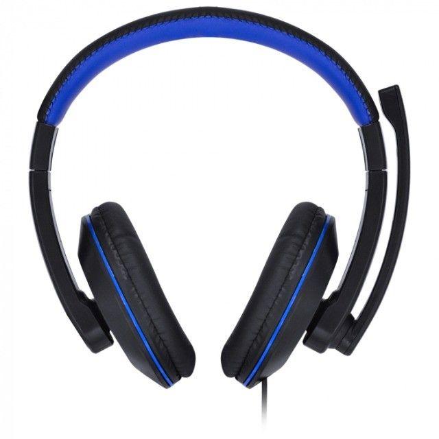 headset gamer vx v blade ii p2 com mic preto com azul - Foto 4