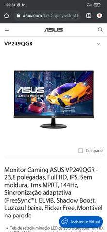 Monitor gamer asus 1ms 144hz novo