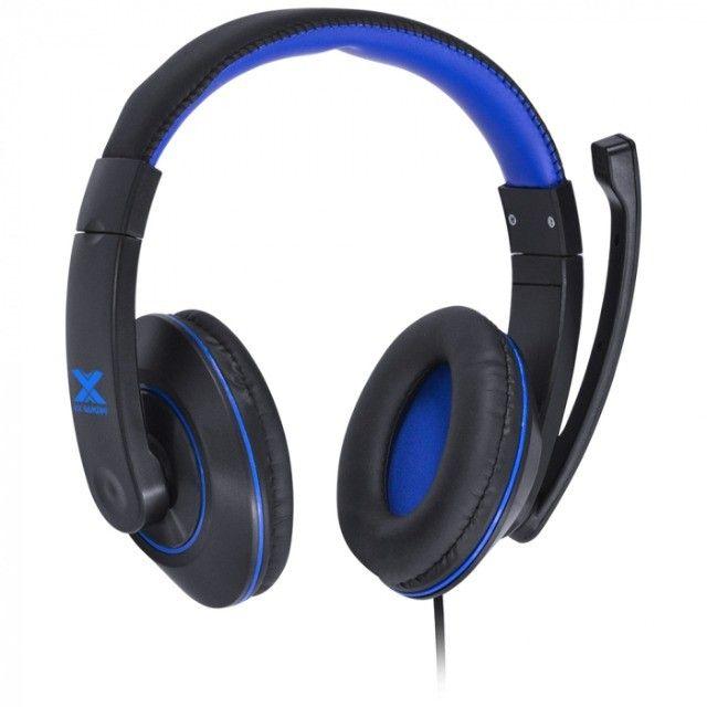 headset gamer vx v blade ii p2 com mic preto com azul - Foto 5