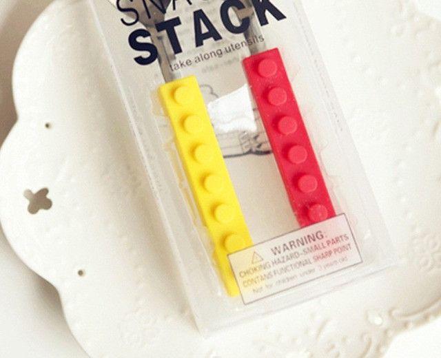 Talheres Lego Silicone E Aço Blocos De Construção 3pcs - Foto 6