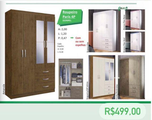 Guarda roupa 4 portas 3 gavetas oferta R$ 499