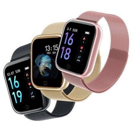 Smartwatch Relógio P80s Com Pulseira De Metal Preto