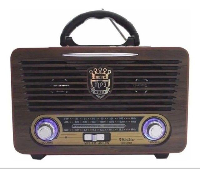 Radio Analógico Retro Portátil Recarreg Bluetooth Fm Pendriv
