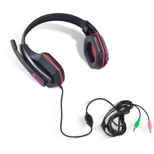 headset gamer  ogma p2 stereo com microfone - preto e vermelho - Foto 4