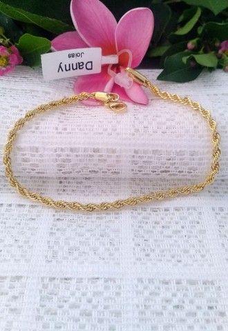 Pulseira Modelo Cordão Baiano Folheado a Ouro 18K Semijoia - Foto 3