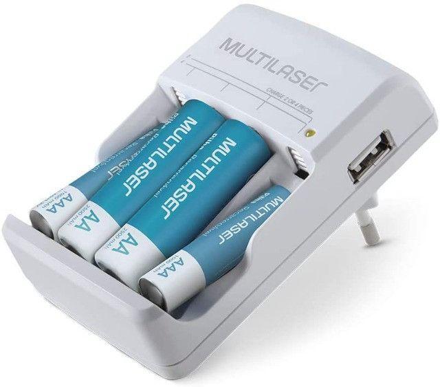 Carregador de pilhas + 4 pilhas recarregáves (2AA + 2AAA) Multilaser - Foto 3