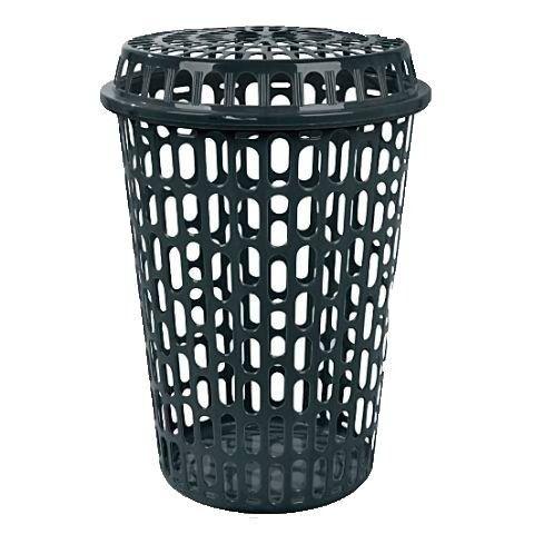oferta promoção cesto telado para roupas com tampa 60 litros preto - arqplast