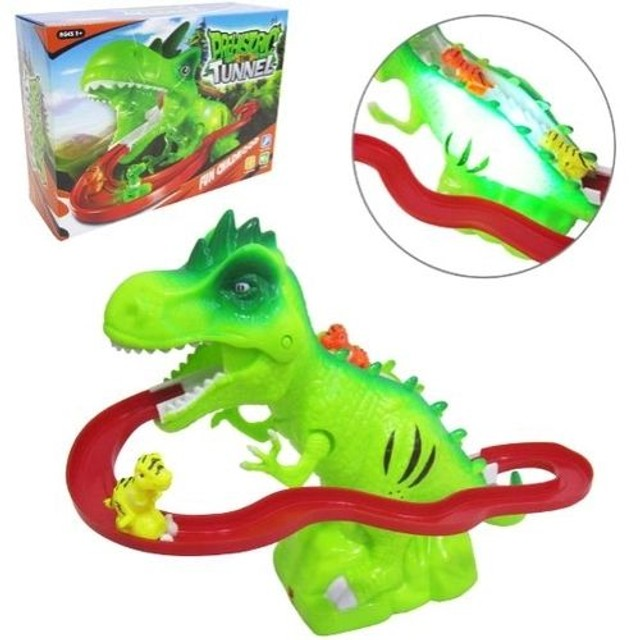 Pista De Dinossauros Com Som E Luz Túnel Escorregador Dino  - Foto 2