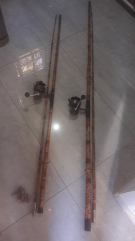 Conjunto Molinete para pesca Paoli e vara de bambu de 2,5mts - Foto 4