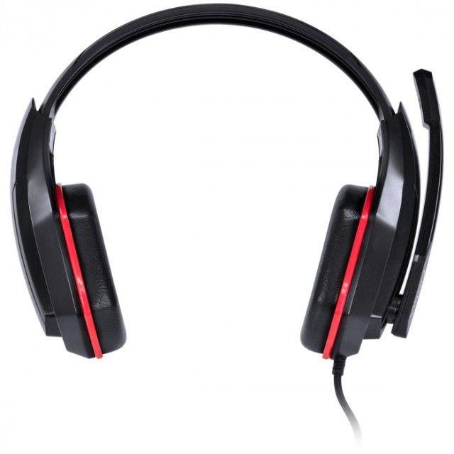 headset gamer  ogma p2 stereo com microfone - preto e vermelho - Foto 2