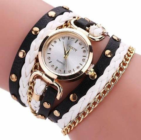 Relógio Feminino com Bracelete de Couro Vintage