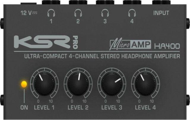 Amplificador Fones Ksr Pro Ha400 alimentar até 4 fones de ouvido volumes independentes - Foto 4
