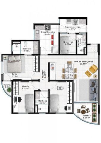 Apartamento 103 metros, m², 3 Quartos com Suíte Lazer Residencial Costa Azul, Águas Claras - Foto 19
