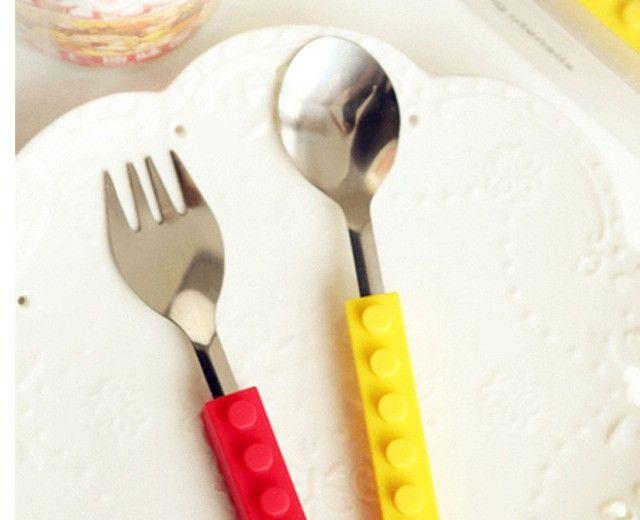 Talheres Lego Silicone E Aço Blocos De Construção 3pcs - Foto 4