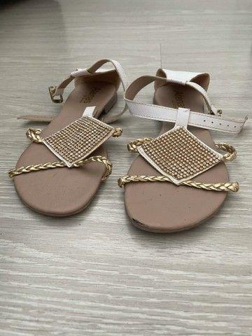 Rasteira sandália branca brilho  - Foto 3