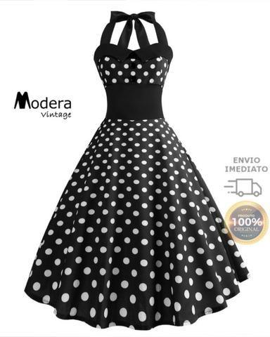 93251cc5a Vestido De Bolinha Anos 60 Festa Vintage Retrô Bola 50 Pin40 ...