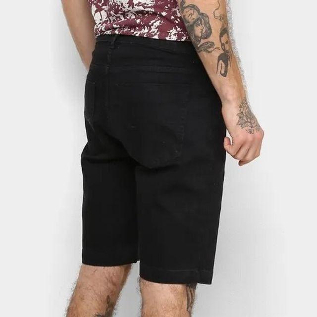 Bermuda Jeans Masculina Slim Fit Barezy - Preta - Tamanho 46 - Foto 2