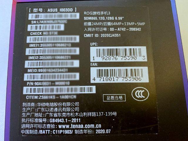 Asus Rog Phone 3, 128gb, 12gb RAM, Dual, 8K, Zero e Lacrado, BR - Foto 5