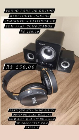 Fone Bluetooth + caixinha de som