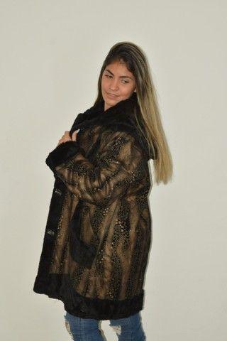 Casaco longo sobretudo forrado com pele Fake Fofinho  - Foto 5