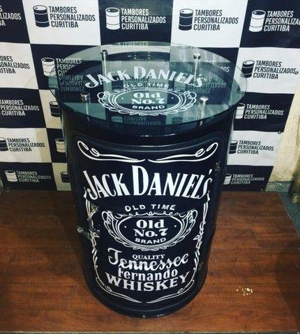 Tambor Personalizado com vidro Jack Daniels e lâmpada de led