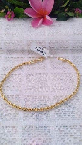 Pulseira Modelo Cordão Baiano Folheado a Ouro 18K Semijoia - Foto 2