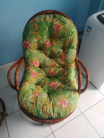 Conjunto de 4 cadeiras giratórias de bambu  - Foto 5