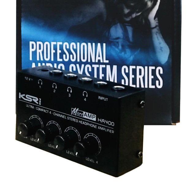 Amplificador Fones Ksr Pro Ha400 alimentar até 4 fones de ouvido volumes independentes
