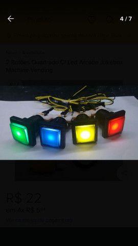 Fliperama botão quadrado  com micro e led - Foto 2