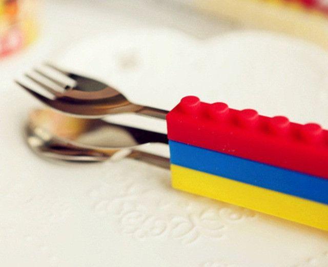 Talheres Lego Silicone E Aço Blocos De Construção 3pcs - Foto 3