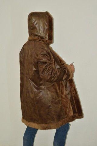Casaco longo de couro forrado com pelo Fake  - Foto 5