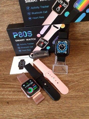 Smartwatch Relógio P80s Com Pulseira De Metal Preto - Foto 3