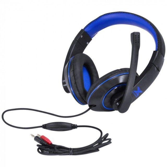 headset gamer vx v blade ii p2 com mic preto com azul - Foto 3