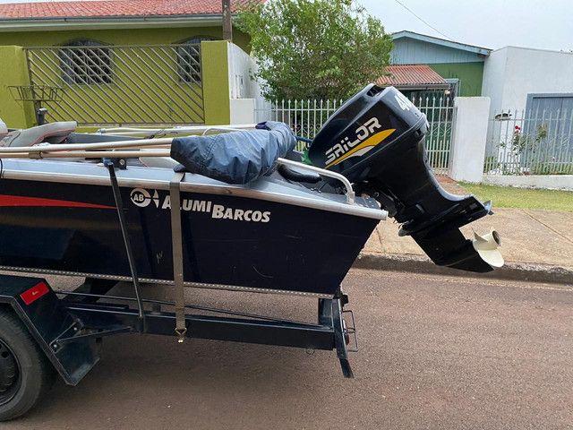 Lancha Albatroz alumi barcos motor 40hp 2t sailor - Foto 4
