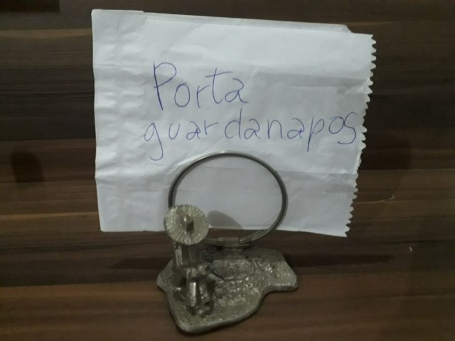 Porta Guardanapo Antigo em Metal - Foto 2