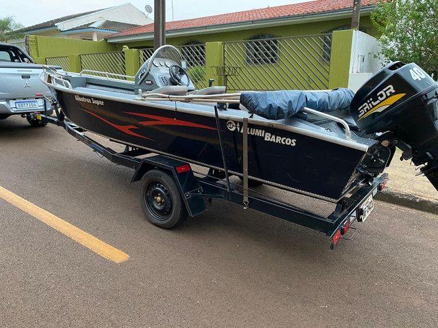Lancha Albatroz alumi barcos motor 40hp 2t sailor - Foto 3