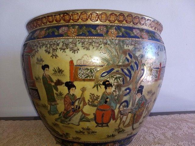 vaso aquário de porcelana chinesa antigo século XIX - Foto 4