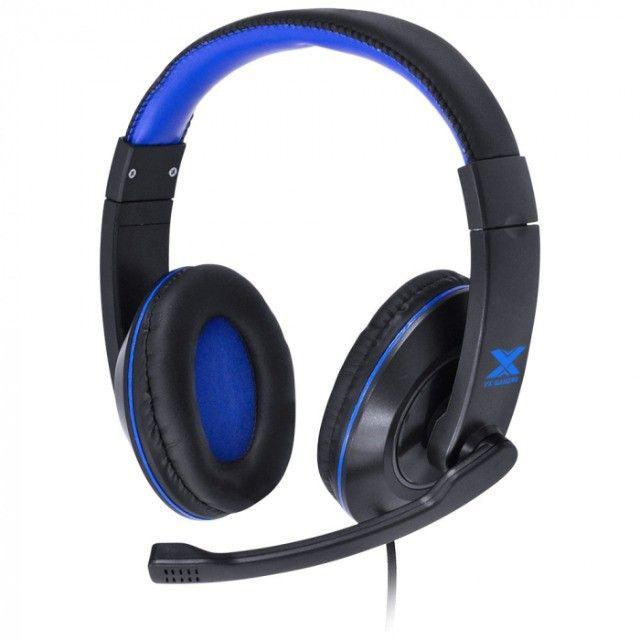 headset gamer vx v blade ii p2 com mic preto com azul - Foto 6