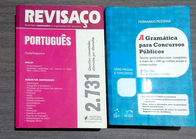 Duas gramáticas: Gramática para concursos Pestana e Revisaço