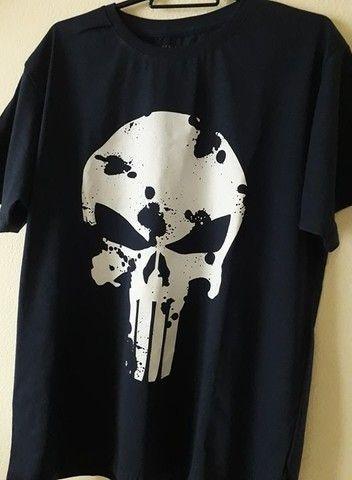 Camiseta Justiceiro Nova. Entrego na ilha ou centro Grátis. Aceito cartão - Foto 3
