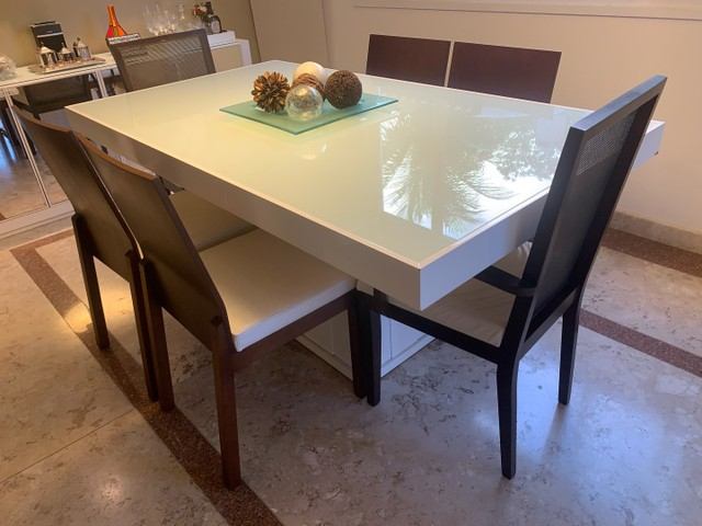 Jogo de Mesa de Jantar em Laca Branca 1,6 x 0.8 m - Foto 3