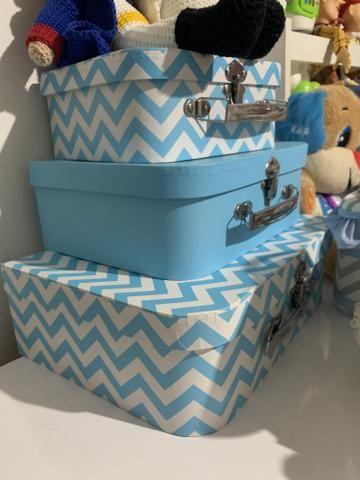 Trio de maletas azuis