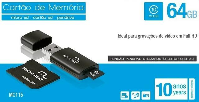 3x1 Cartão de memória, Pen drive, Adaptador USB Multilaser 64GB Classe 10 MC115