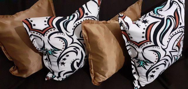Kit de 05 almofadas decorativas completas capa e enchimento individual com zíper