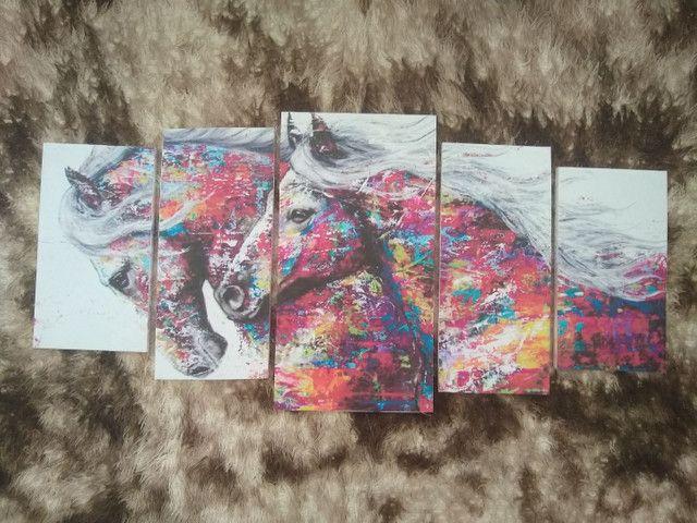 Quadro em mosaico cavalos com 5 peças - Foto 4